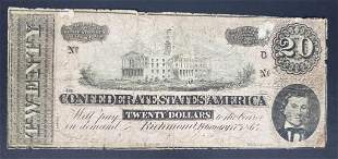 1864 $20 THE CONFEDERATE STATES of AMERICA