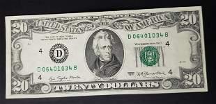1977 $20 ERROR NOTE - OVER PRINT