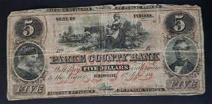 $5 PARKE COUNTY BANK OBSOLETE NOTE