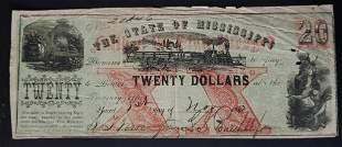 1862 $20 OBSOLETE NOTE STEAM ENGINE