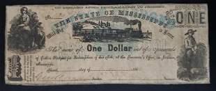 1862 $1 OBSOLETE NOTE STEAM ENGINE