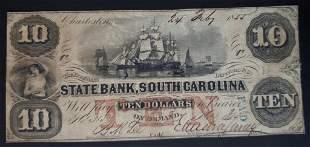 1855 $10 STATE BANK SOUTH CAROLINA
