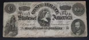 1864 $100 CONFEDERATE STATE of AM