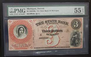 1859-60s $3 State Bank of Michigan