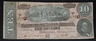 64 $10 CONFEDERATE STATES of AM