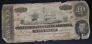 1865 $20 CONFEDERATE STATES of AM