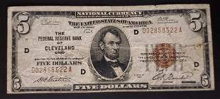1929 $5 NATIONAL CURRENCY CLEVELAND OH