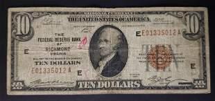 1929 $10 NATIONAL CURRENCY RICHMOND VA