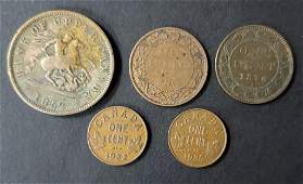 (5) early DATE FOREIGN COPPER COINS