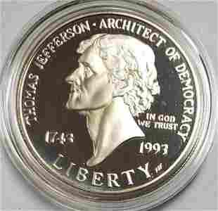 1993 Thomas Jefferson 250th Anniversary Silver Dol