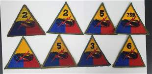 8- WWII US Army Armored Division Patches