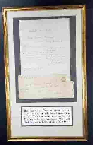 Last Civil War Survivor Albert Woolson Framed Lett