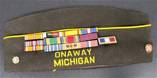 WWII Veteran VFW Cap - Ribbon Bars - Life Member