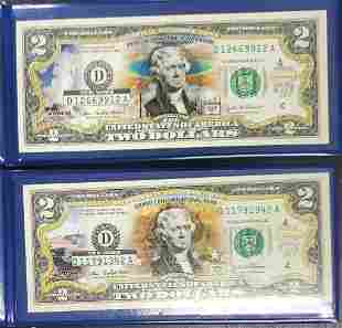 2 New England Mint Colorized Legal Tender $2 Bills