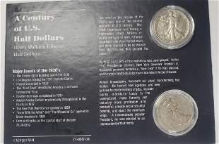 A Century Of US Half Dollars - 2 Silver Walking Li