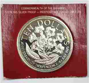 1977 Bahamas $10 Independence Sterling Silver Coin