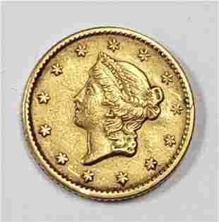 1852 $1 LIBERTY HEAD GOLD COIN