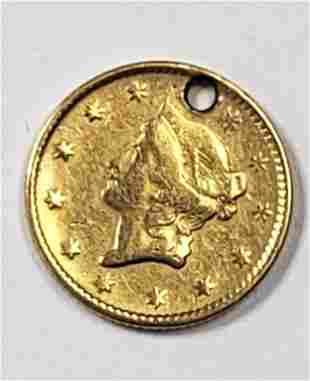 1854 $1 LIBERTY GOLD COIN / PENDANT