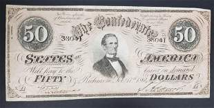 1864 $50 THE CONFEDERATE STATES of AMERICA