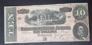 1864 $10 CONFEDERATE STATE of AMERICA