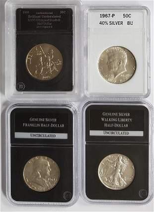 (3) SILVER HALF DOLLARS & 1995 OLYMPIC HALF