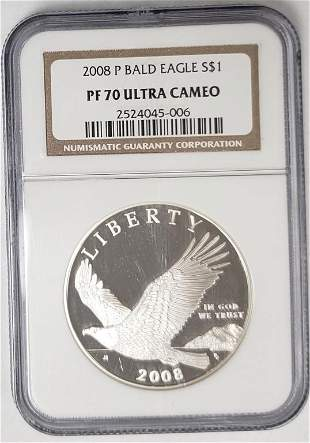 2009 P BALD EAGLE SILVER $1 NGC PF70 UC