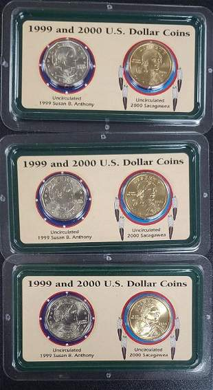 3 Sets of 1999 and 2000 US Dollar Coins Collection