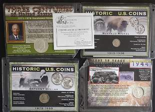 4 First Commemorative Mint Carded Coins - 2-Silver