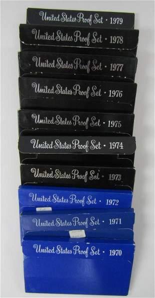 1970 thru 1979 U.S. PROOF SETS