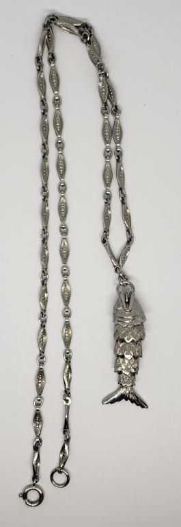 VINTAGE SILVER TONED FISH NECKLACE