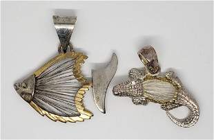 2-SILVER TONED ANIMAL DANGLY PENDANTS WITH
