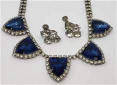 VINTAGE SILVER TONED RHINESTONE NECKLACE WITH