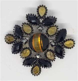 VINTAGE BLACK BROOCH WITH BLACK AND YELLOW