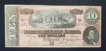 1864 $10 CONFEDERATE STATES of AMERICA