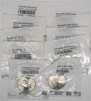 (10) KENNEDY HALF DOLLARS