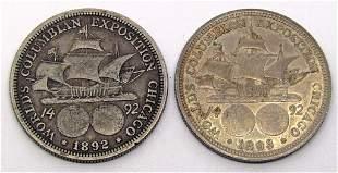 1892 & 1893 COLUMBIAN HALF DOLLARS