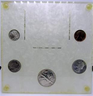 1936 YEAR SET 5 COINS in VTG DISPLAY