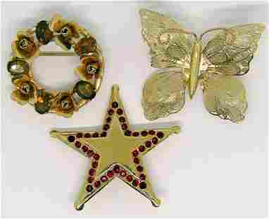 3-VINTAGE GOLD TONED BROOCHES: (1)STAR WITH