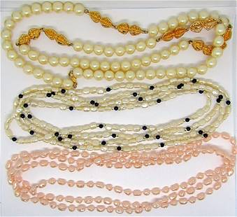 3-VINTAGE BEADED NECKLACES: (1)CULTURED PEARL