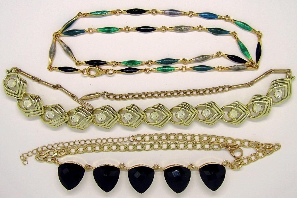 3-VINTAGE GOLD TONED NECKLACES: (1)WITH ENAMEL
