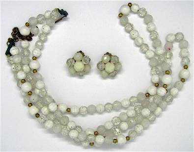 VINTAGE DOUBLE STRANDED BEADED NECKLACE PLUS