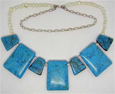 SOUTHWESTERN CULTURED PEARL AND TURQUOISE
