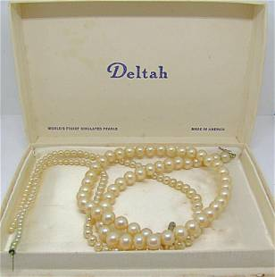 2-VINTAGE DELTA SIMULATED PEARL NECKLACES