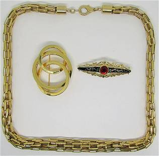 VINTAGE GOLD TONED JEWELRY LOT: (1)WOVEN