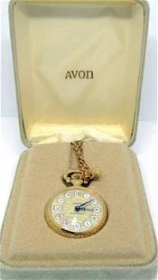 NIB! VTG AVON GOLD TONED CLOCK PENDANT