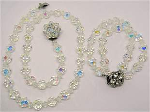 SET! VTG SILVER TONED CLEAR BEADED NECKLACE