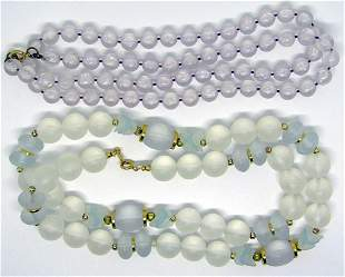 2-VINTAGE TRANSLUCENT BEADED NECKLACES