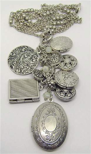 VINTAGE SILVER TONED NECKLACE WITH MULTIPLE