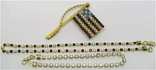 GOLD TONED RED WHITE AND BLUE RHINESTONE