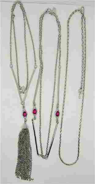 3-VINTAGE SARAH COVENTRY SILVER TONED NECKLACES